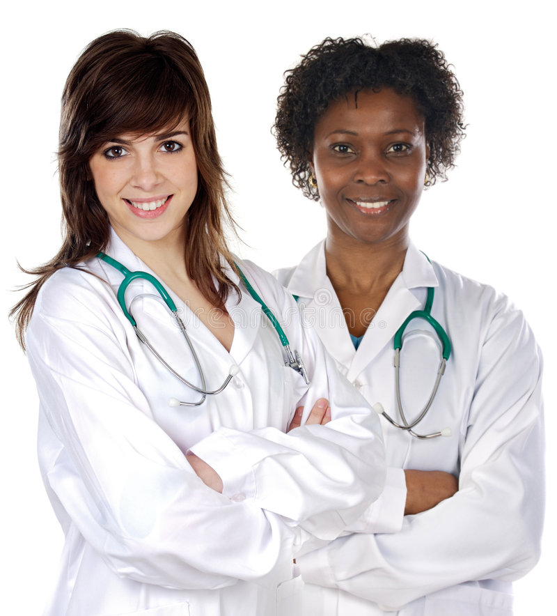 Doutor de duas mulheres foto de stock
