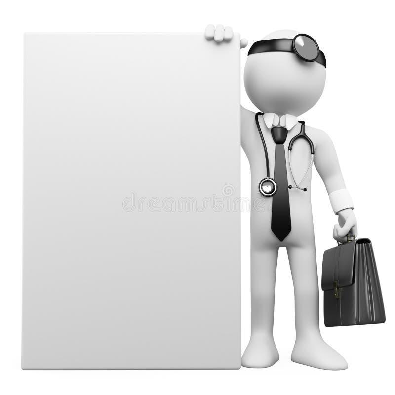 doutor de família 3D com um poster em branco ilustração do vetor