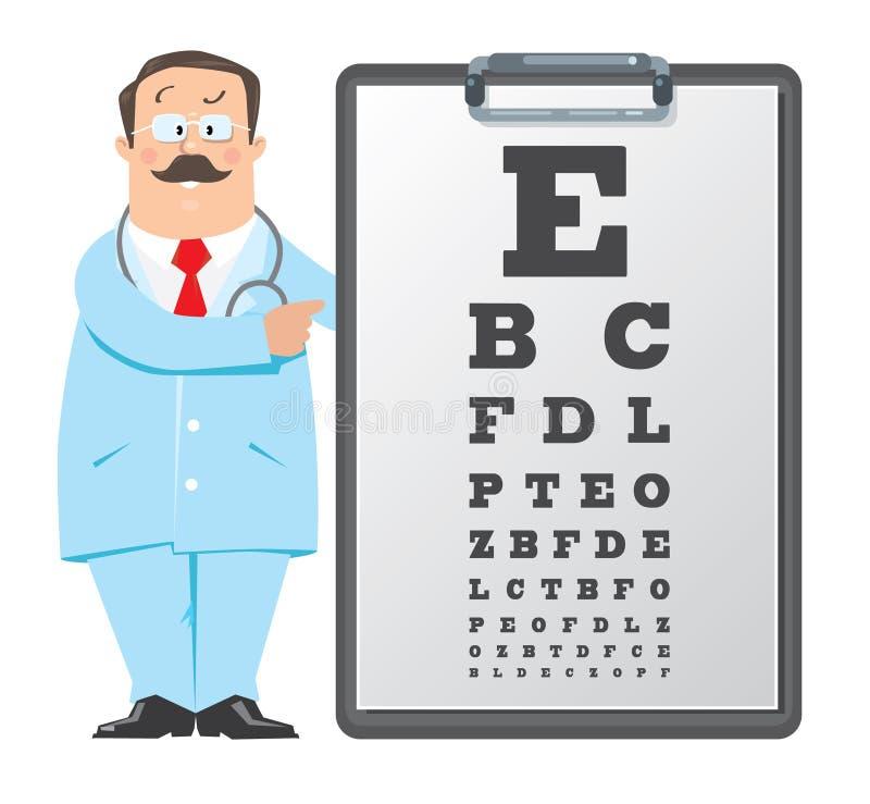 Doutor do ótico com carta de olho de Snellen doutor ilustração do vetor