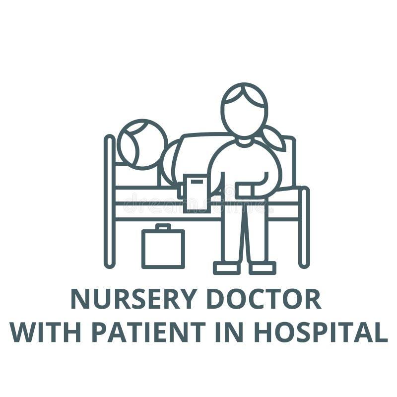 Doutor do berçário com o paciente na linha ícone do vetor do hospital, conceito linear, sinal do esboço, símbolo ilustração do vetor