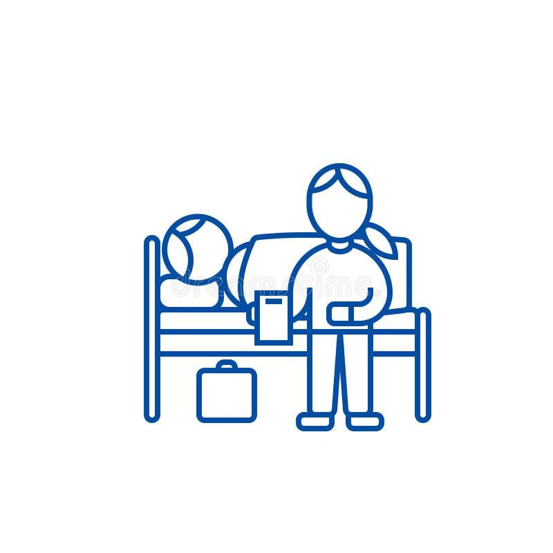 Doutor do berçário com o paciente na linha conceito do hospital do ícone Doutor do berçário com o paciente no símbolo liso do vet ilustração royalty free