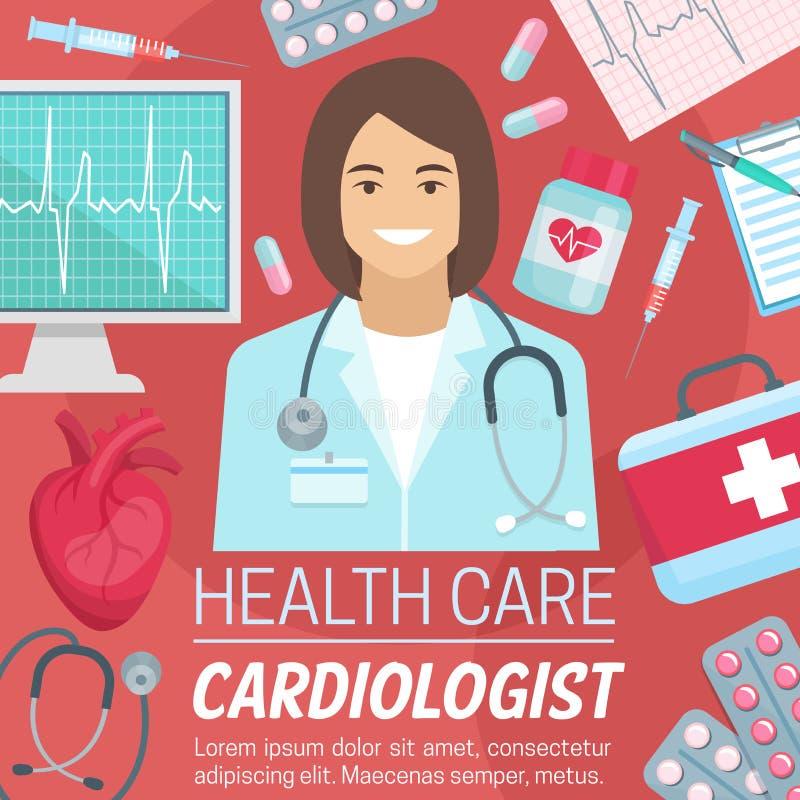 Doutor do cardiologista com coração e ecg ilustração stock