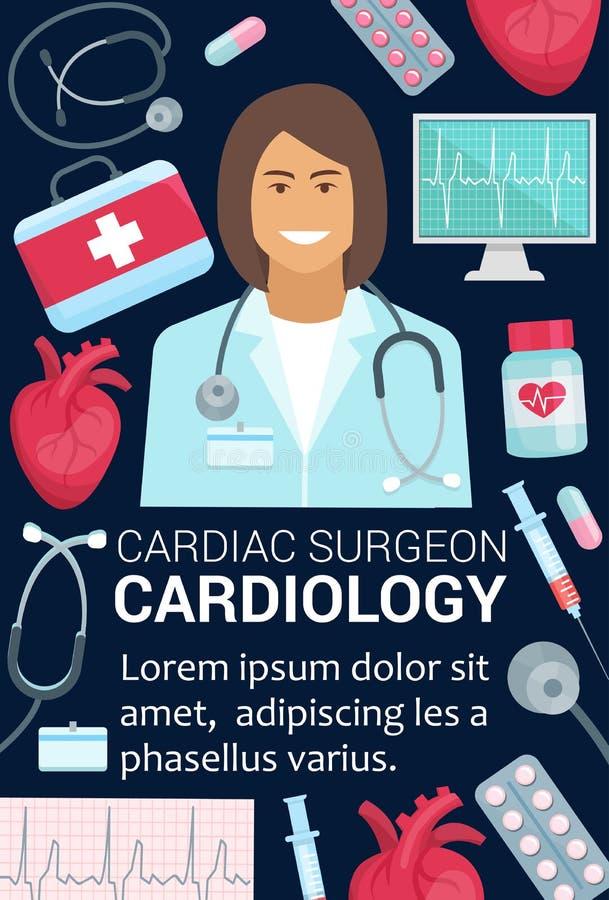 Doutor do cirurgião da cardiologia e cartaz médico do coração ilustração do vetor
