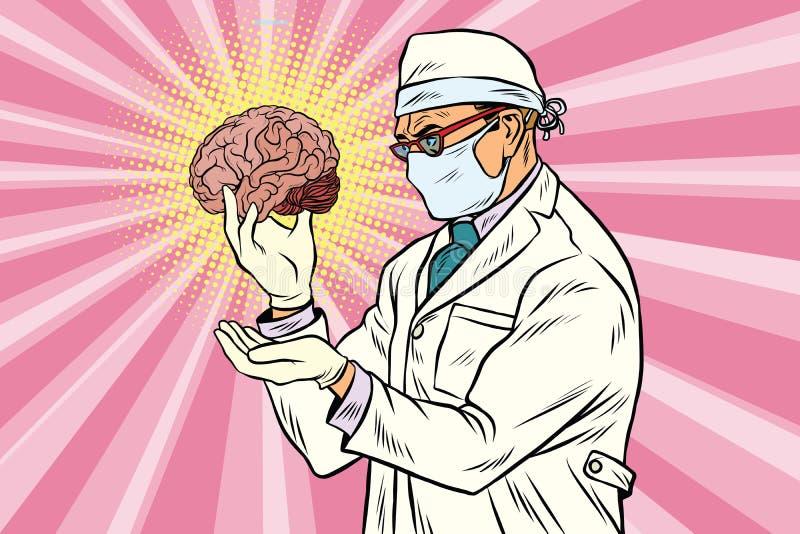 Doutor do cirurgião e o cérebro humano ilustração royalty free