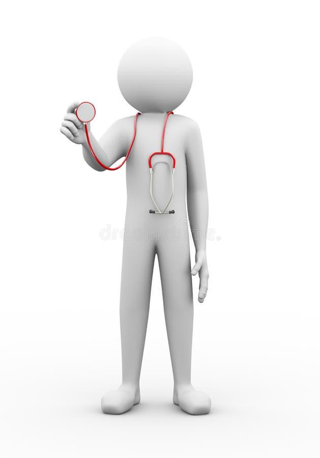 doutor do homem 3d com ilustração do estetoscópio ilustração stock