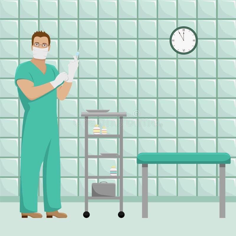 Doutor do homem no formulário de trabalho em luvas estéreis ilustração do vetor