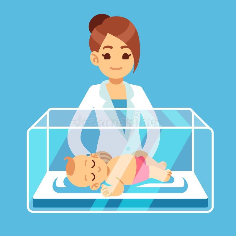 Doutor do pediatra e bebê recém-nascido pequeno dentro da caixa da incubadora no hospital Neonatal, prematuridade, puericultura m ilustração royalty free