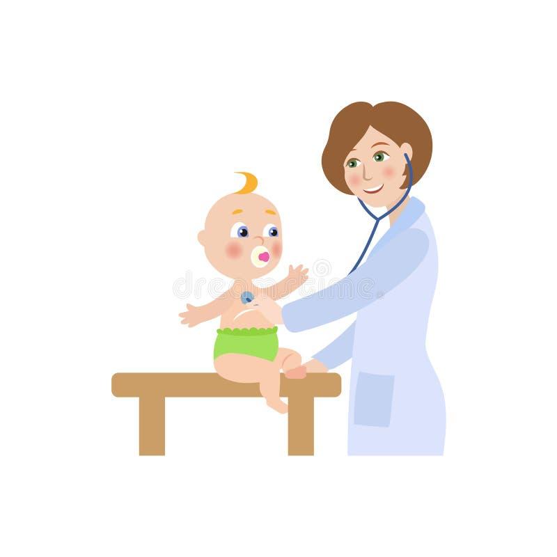 Doutor do vetor e bebê fêmeas lisos do infante ilustração do vetor