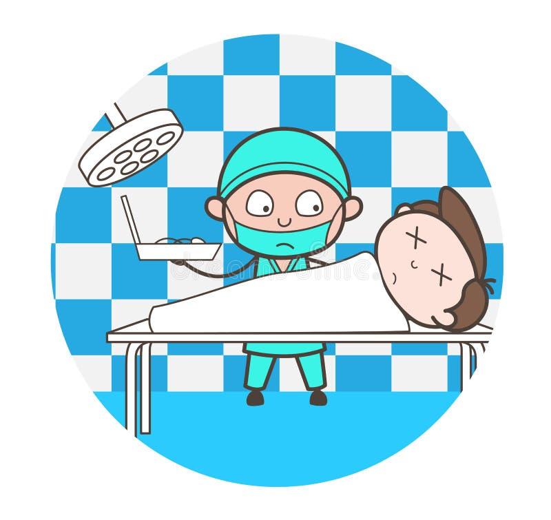 Doutor Doing Postmortem dos desenhos animados do vetor do corpo ilustração royalty free
