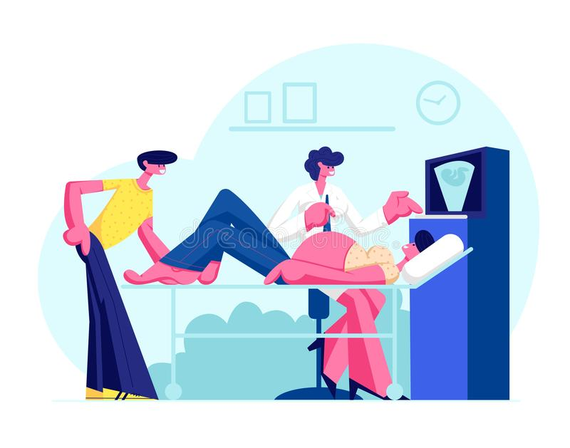 Doutor Doing Ultrasound Fetus que seleciona o controle na cl?nica Hospital da visita dos pares da mulher gravida e do marido que  ilustração stock