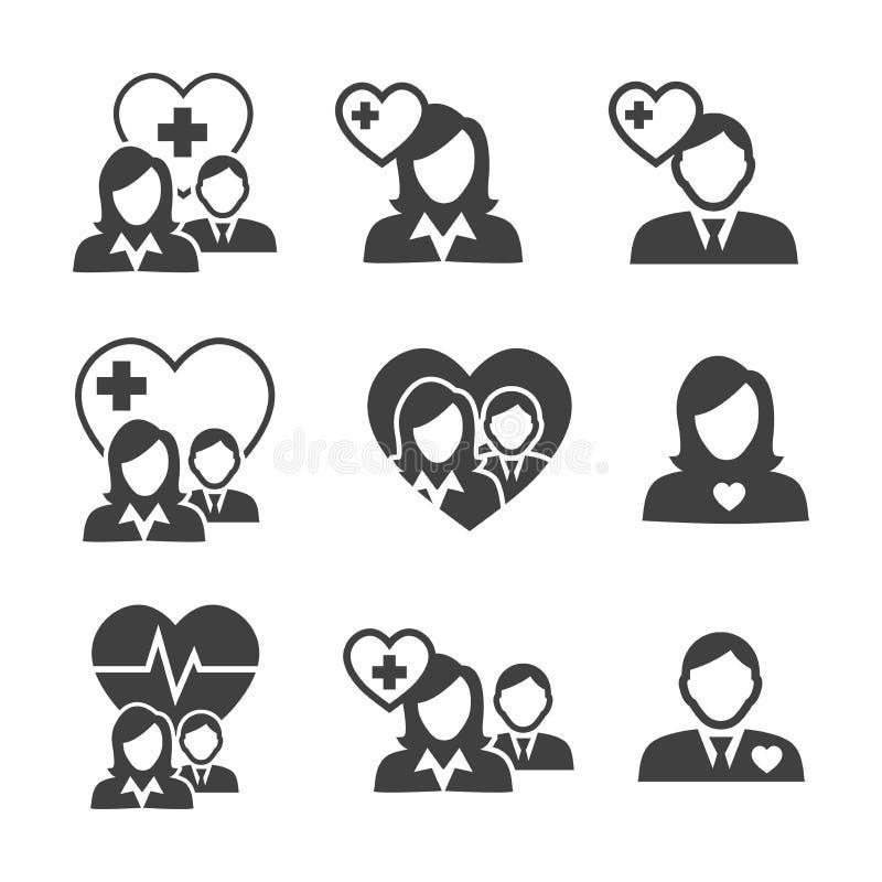 Doutor dos cuidados médicos e enfermeira Icons ilustração royalty free