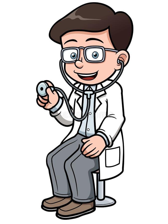 Doutor dos desenhos animados com estetoscópio ilustração stock