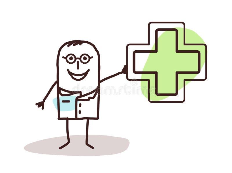 Doutor dos desenhos animados com sinal da drograria ilustração do vetor