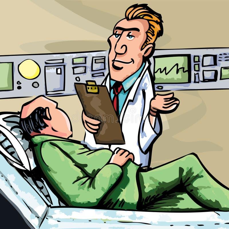 Doutor dos desenhos animados no revestimento branco ilustração do vetor