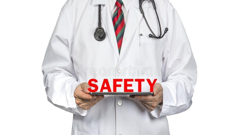doutor e bandeira da segurança imagens de stock