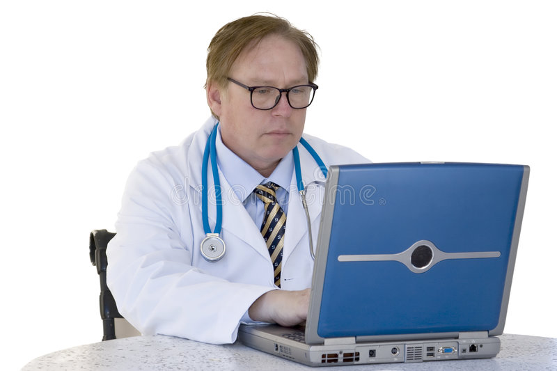 Doutor e computador imagem de stock royalty free