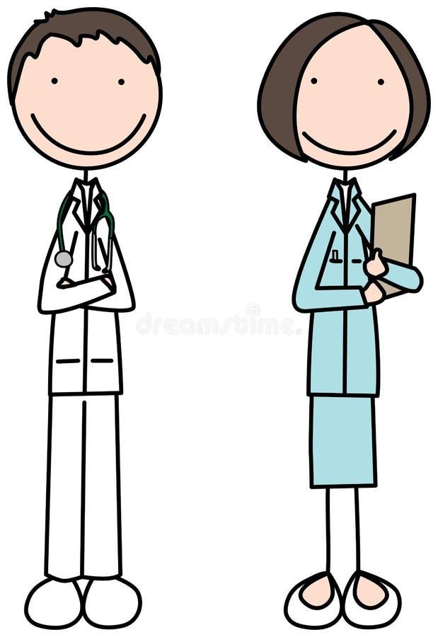 Doutor e enfermeira ilustração do vetor