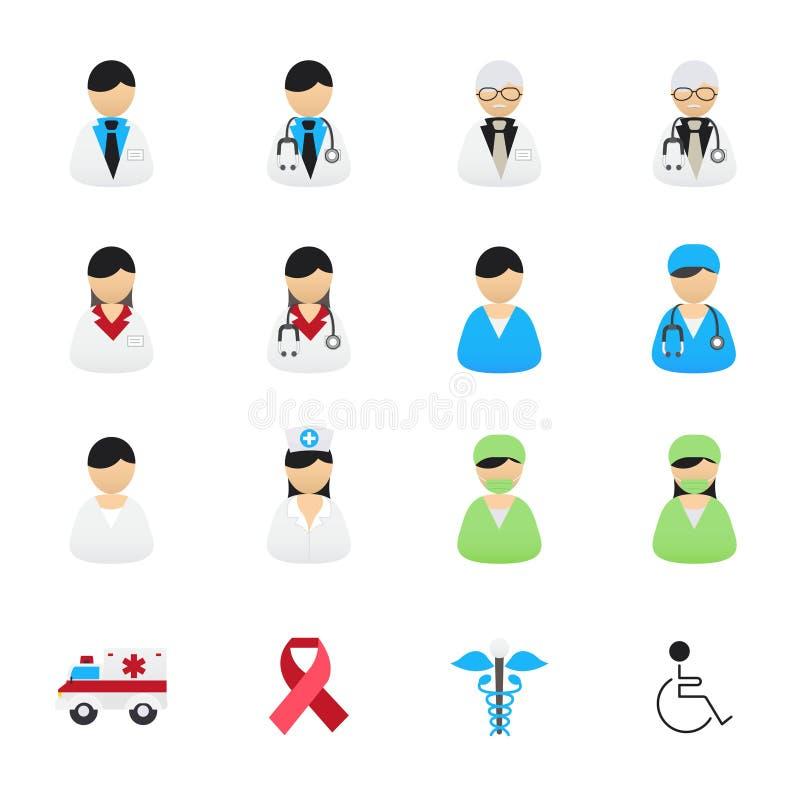 Doutor e enfermeira Healthcare Professionals Icons Grupo de saúde e de ícones médicos Estilo liso dos ícones da cor da ilustração ilustração do vetor