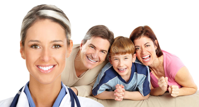 Doutor e família foto de stock
