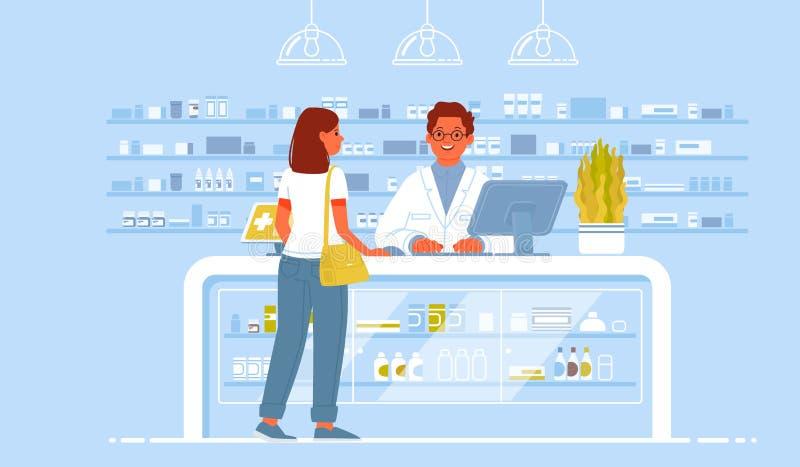 Doutor e paciente do farmacêutico na drograria Uma mulher do cliente compra drogas em uma farmácia ilustração royalty free