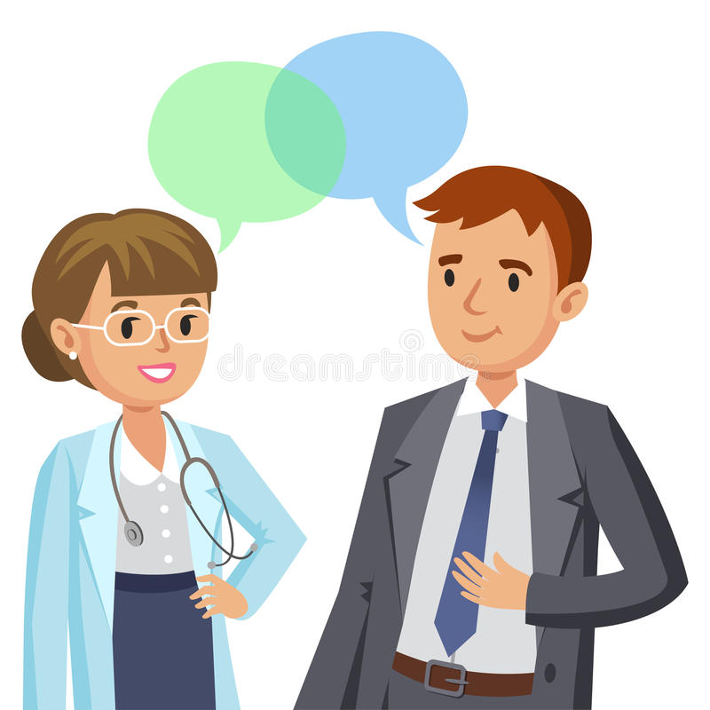 Doutor e paciente Homem que fala ao médico Vetor ilustração stock