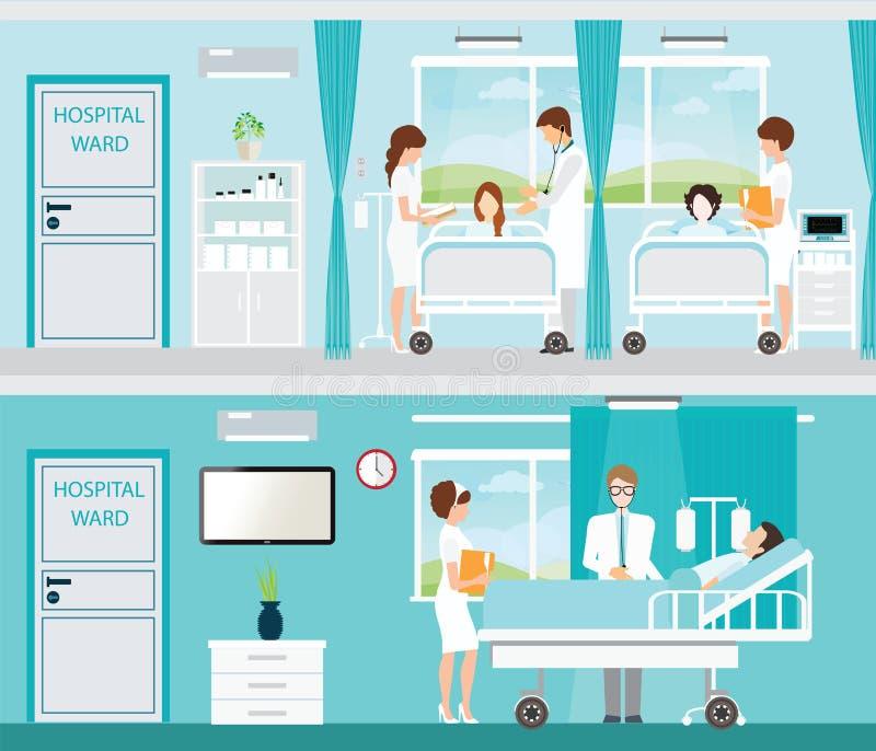 Doutor e paciente na sala de hospital com camas ilustração royalty free
