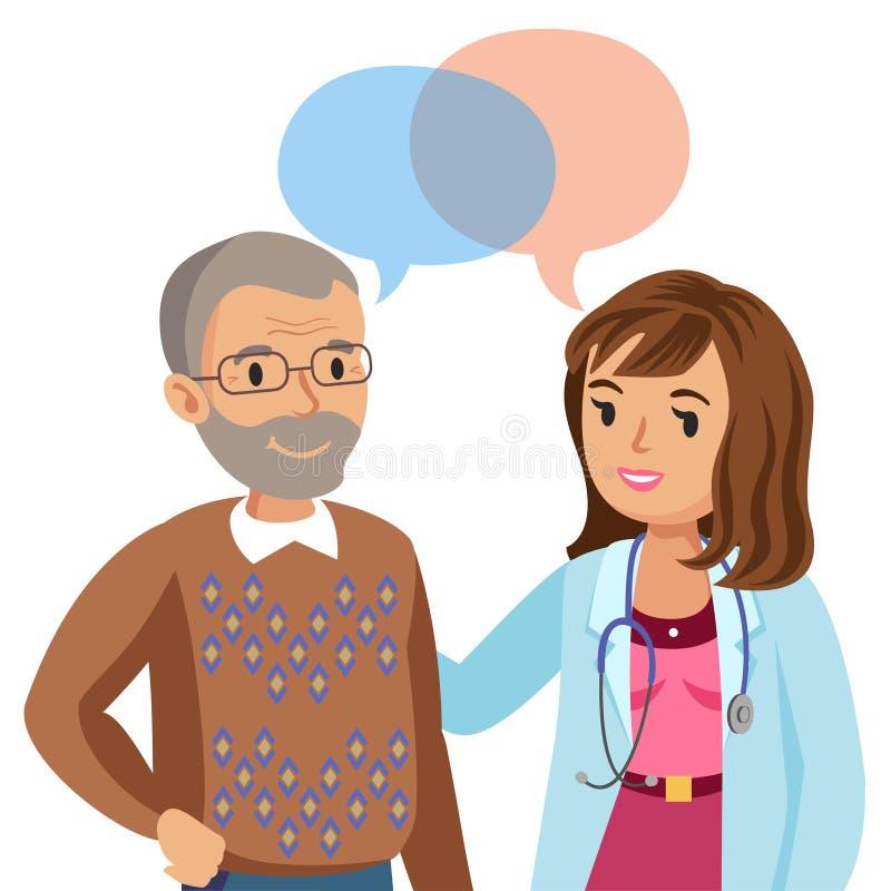 Doutor e paciente superior Homem que fala ao médico Vetor ilustração stock