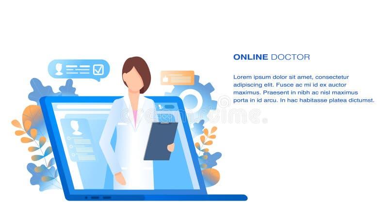 Doutor em linha Medical Consultation e apoio ilustração do vetor