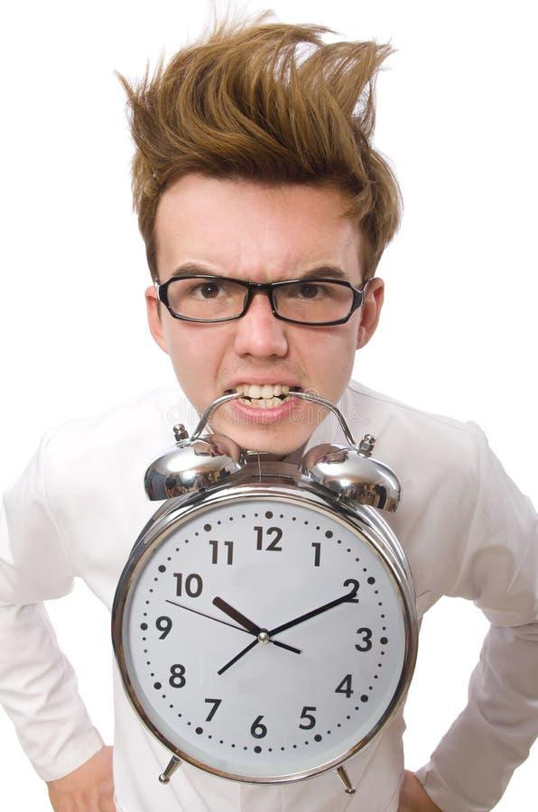Doutor engraçado com despertador imagens de stock