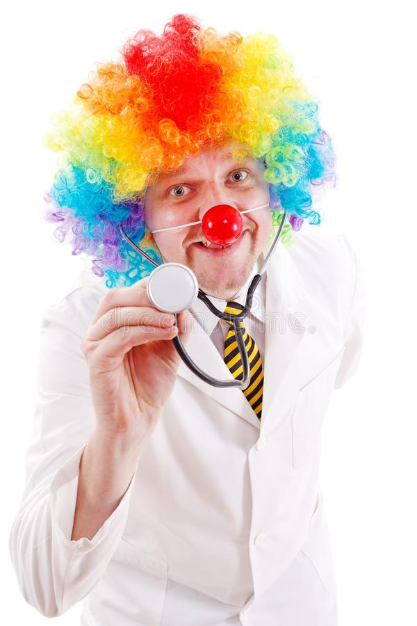 Doutor engraçado do palhaço foto de stock