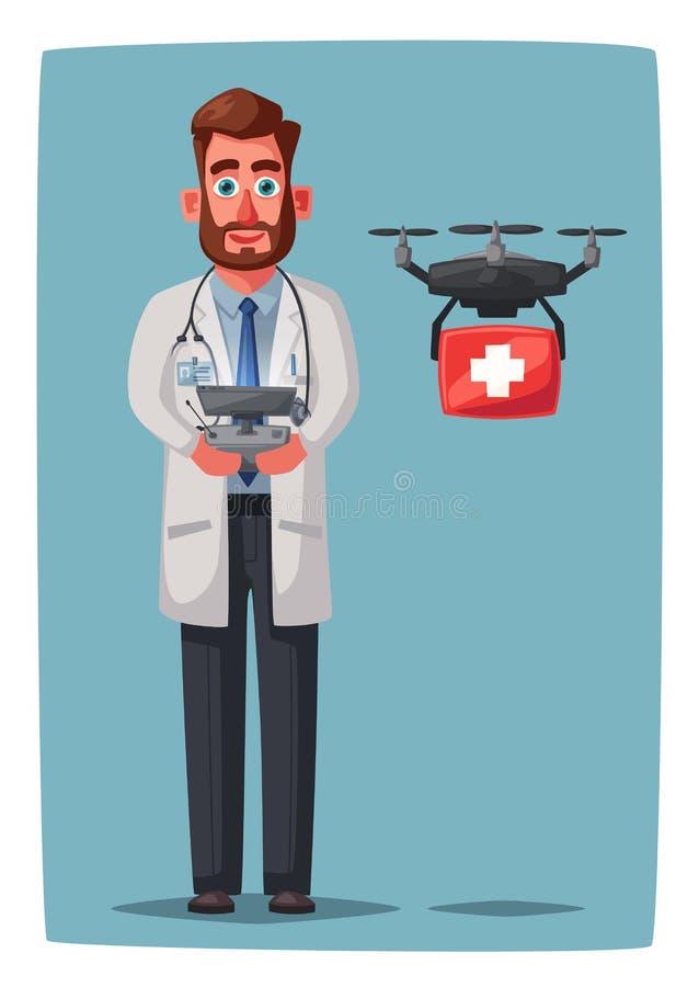 Doutor esperto com zangão Projeto de caráter engraçado Ilustração do vetor dos desenhos animados ilustração stock