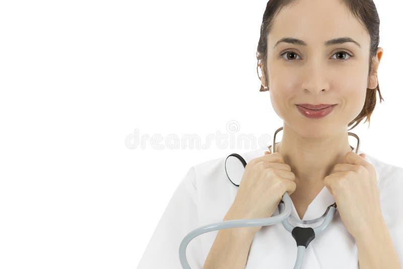 Doutor fêmea amigável que sorri, retrato fotos de stock royalty free