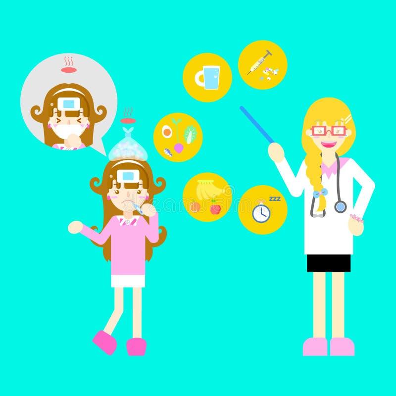 Doutor fêmea com a menina bonito fria da gripe da febre da doença que tosse saudável infographic dos cuidados médicos doentes do  ilustração royalty free