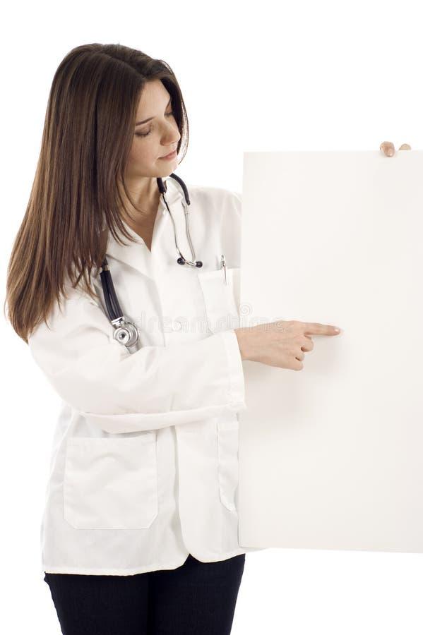 Doutor fêmea com uma bandeira fotos de stock