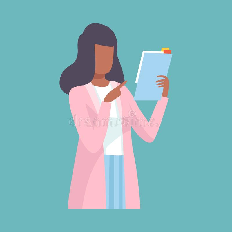 Doutor fêmea Holding Clipboard e conselho ou recomendação da doação, terra arrendada profissional do caráter do trabalhador médic ilustração do vetor