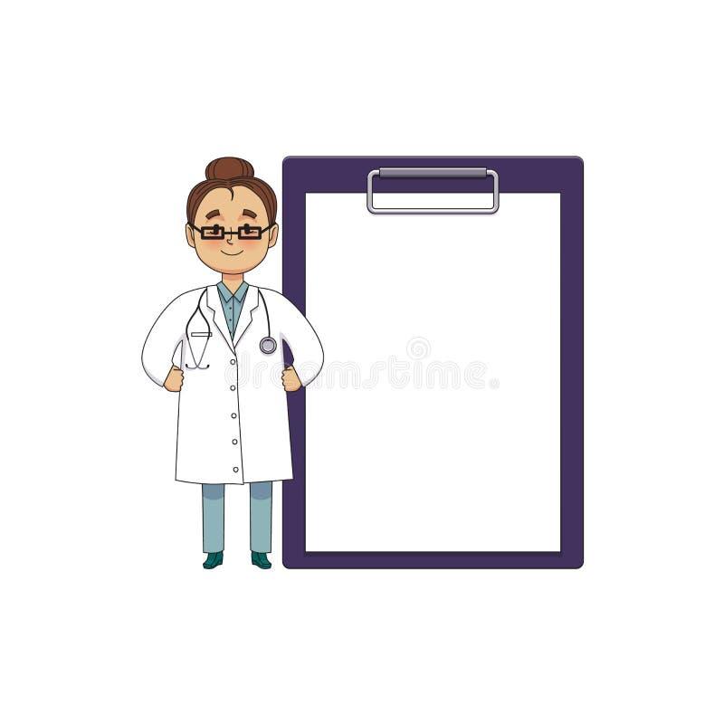 Doutor fêmea liso do vetor na roupa médica ilustração stock