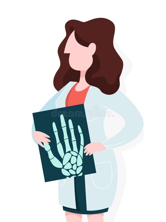 Doutor fêmea no uniforme que guarda um raio X da palma da mão ilustração do vetor