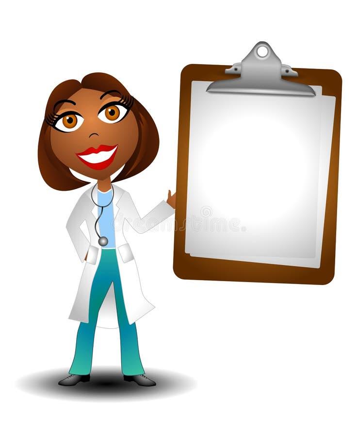 Doutor fêmea Terra arrendada Em branco Carta 2 ilustração royalty free