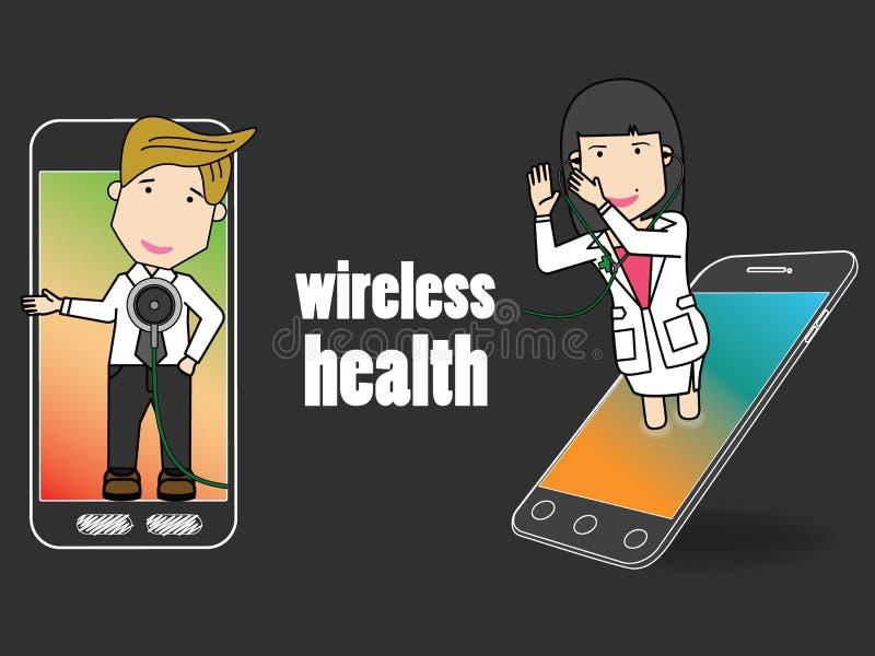 Doutor feliz no telefone paciente da aplicação da passagem da análise do telefone celular ilustração stock