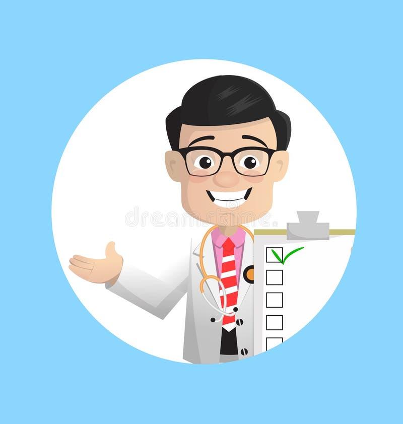 Doutor feliz Showing Checklist Vetora dos desenhos animados ilustração do vetor