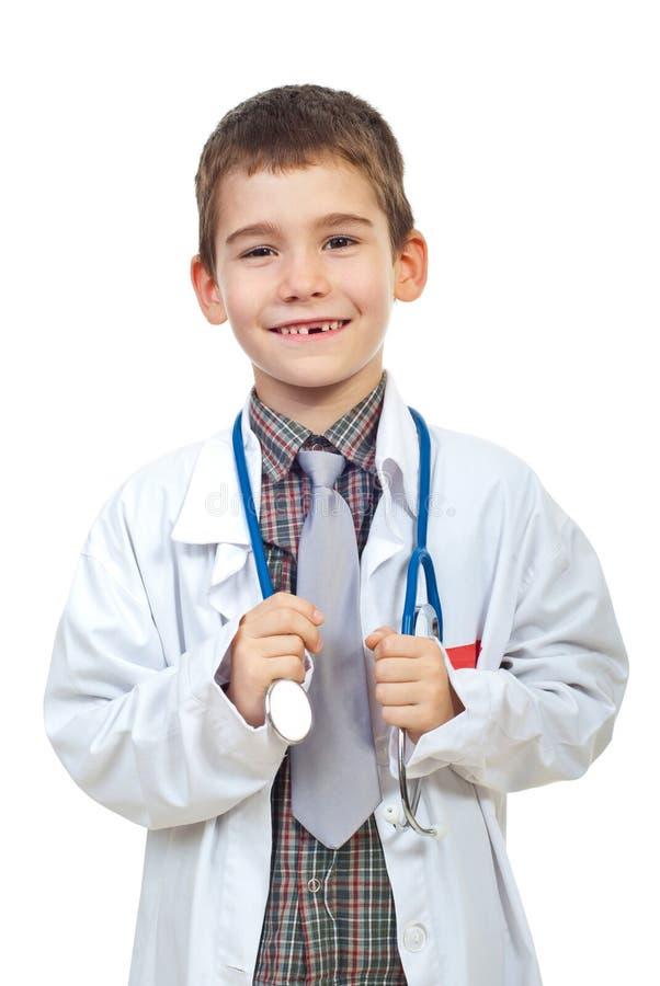 Doutor futuro de riso com estetoscópio imagens de stock