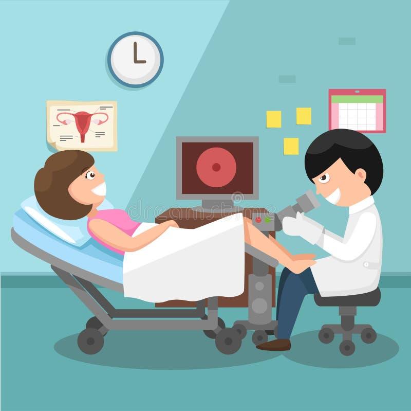 Doutor, ginecologista que executa o exame físico ilustração royalty free