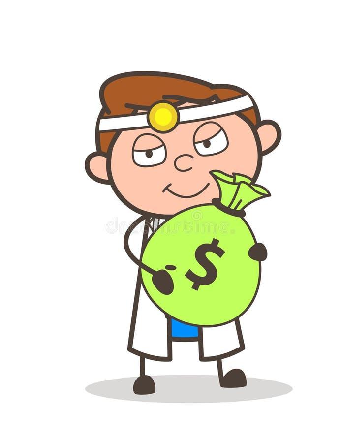 Doutor Holding dos desenhos animados um o pacote de ilustração do vetor do dinheiro ilustração royalty free