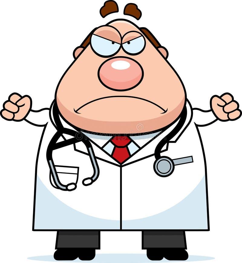 Doutor irritado dos desenhos animados ilustração royalty free