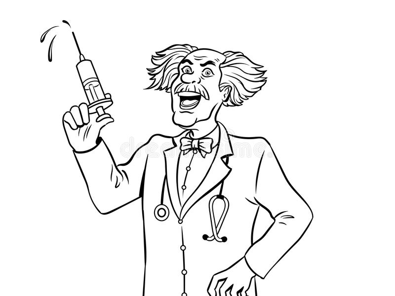 Doutor louco com vetor do livro para colorir da seringa ilustração do vetor