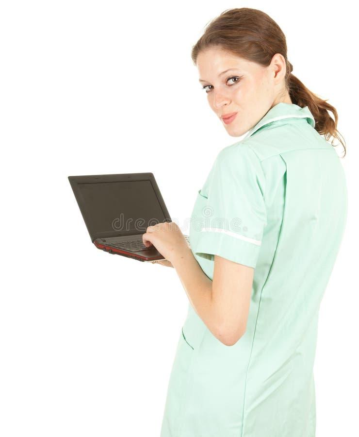 Doutor médico fêmea dos cuidados médicos com portátil fotografia de stock royalty free