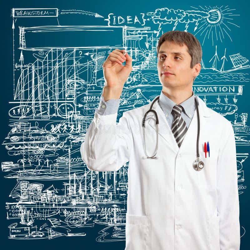 Doutor Macho Escrita Algo imagens de stock