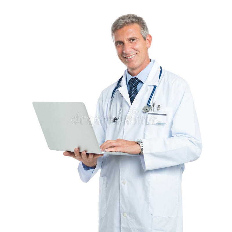 Doutor maduro da tecnologia imagem de stock