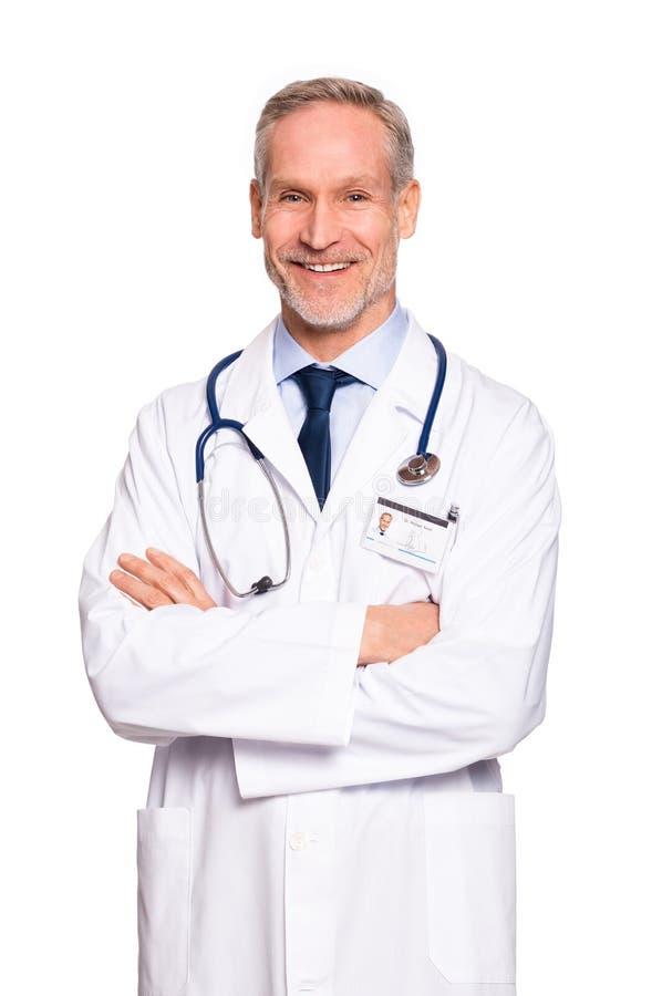 Doutor maduro feliz imagem de stock royalty free