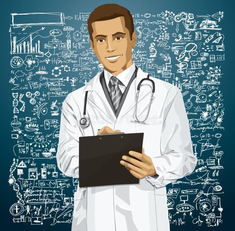 Doutor Man With Clipboard do vetor ilustração stock